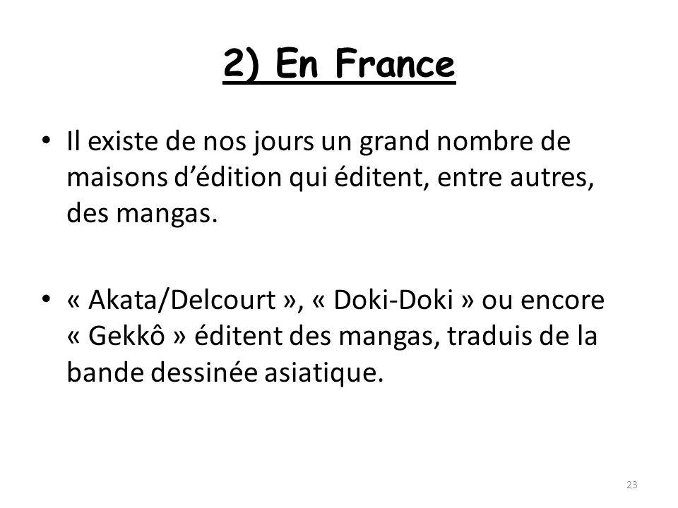 2) En France Il existe de nos jours un grand nombre de maisons d'édition qui éditent, entre autres, des mangas.