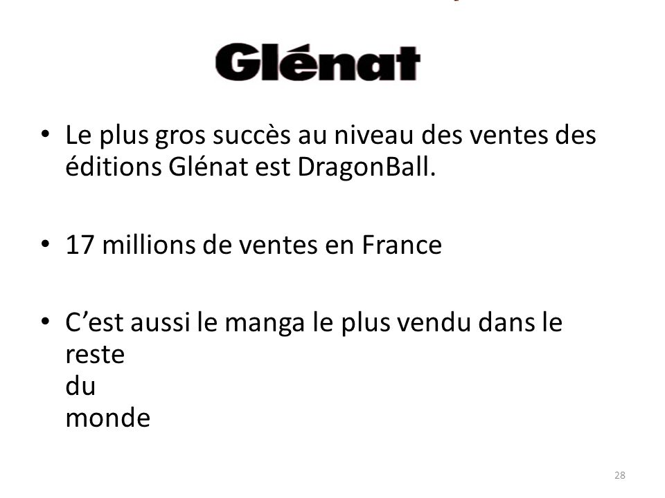 Le plus gros succès au niveau des ventes des éditions Glénat est DragonBall.