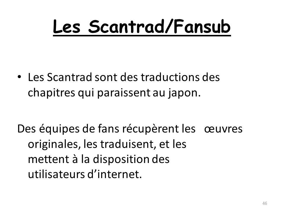 Les Scantrad/FansubLes Scantrad sont des traductions des chapitres qui paraissent au japon.