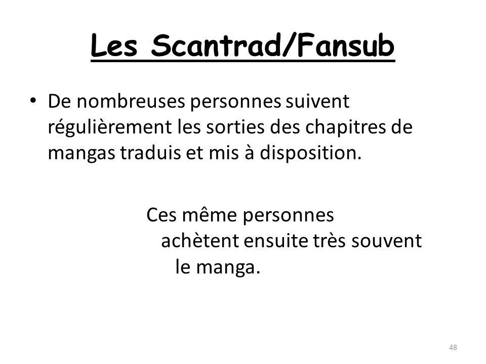 Les Scantrad/Fansub De nombreuses personnes suivent régulièrement les sorties des chapitres de mangas traduis et mis à disposition.