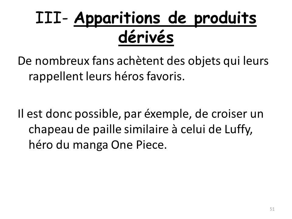 III- Apparitions de produits dérivés