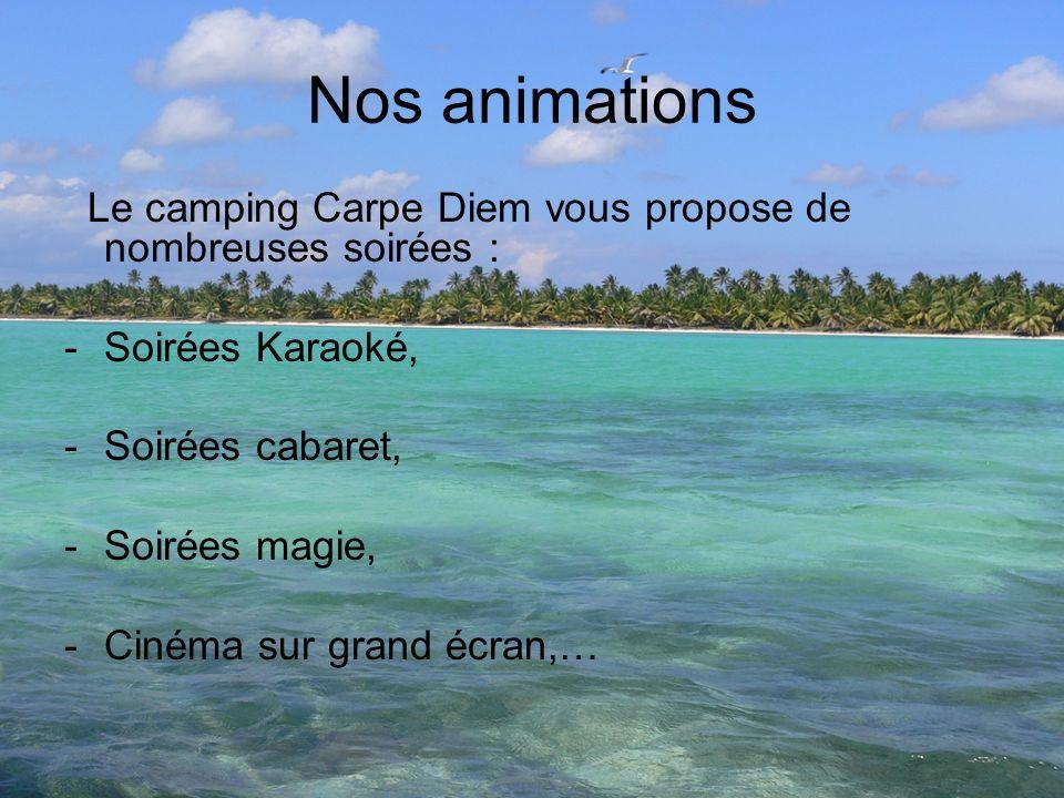 Nos animations Le camping Carpe Diem vous propose de nombreuses soirées : Soirées Karaoké, Soirées cabaret,