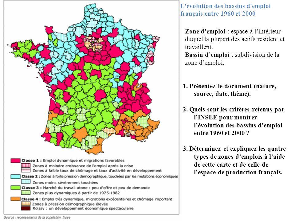 L évolution des bassins d emploi français entre 1960 et 2000