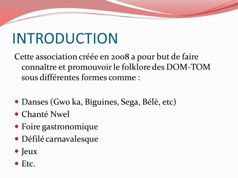 INTRODUCTION Cette association créée en 2008 a pour but de faire connaître et promouvoir le folklore des DOM-TOM sous différentes formes comme :