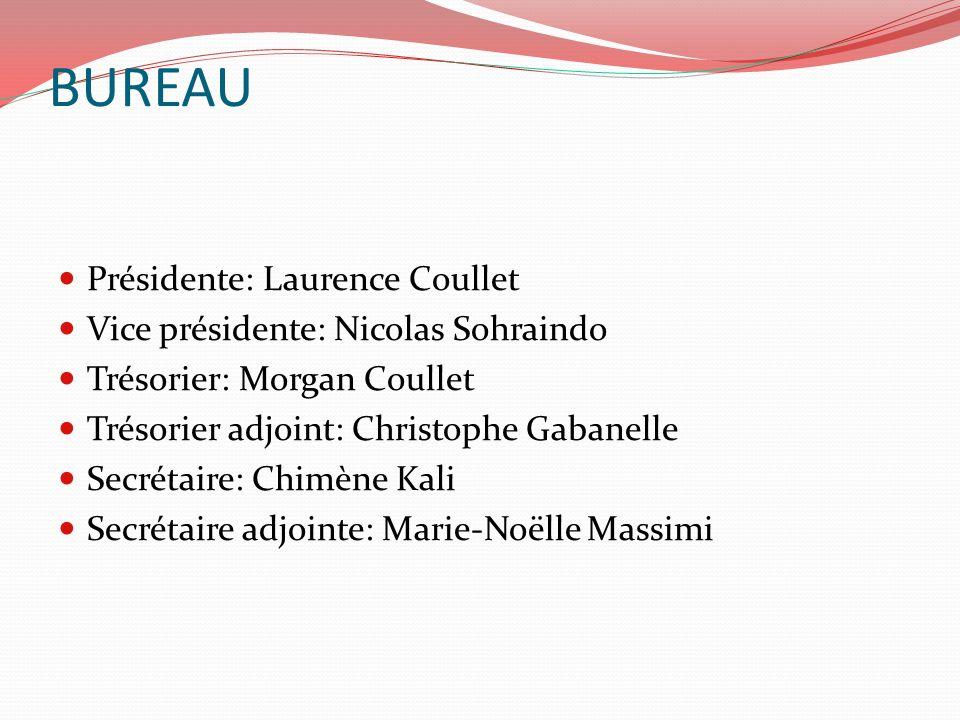 BUREAU Présidente: Laurence Coullet Vice présidente: Nicolas Sohraindo