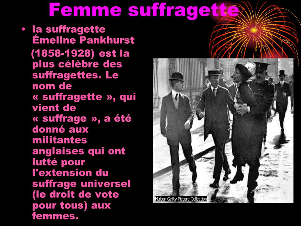 Femme suffragette la suffragette Émeline Pankhurst