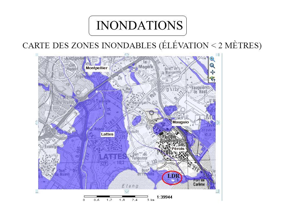 CARTE DES ZONES INONDABLES (ÉLÉVATION < 2 MÈTRES)