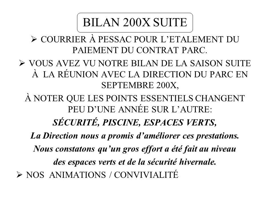 BILAN 200X SUITE COURRIER À PESSAC POUR L'ETALEMENT DU PAIEMENT DU CONTRAT PARC.