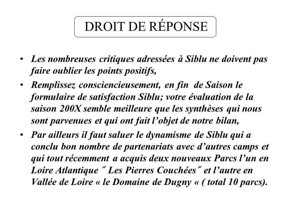 DROIT DE RÉPONSE Les nombreuses critiques adressées à Siblu ne doivent pas faire oublier les points positifs,