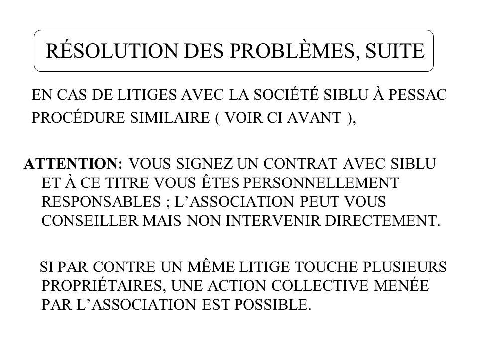 RÉSOLUTION DES PROBLÈMES, SUITE