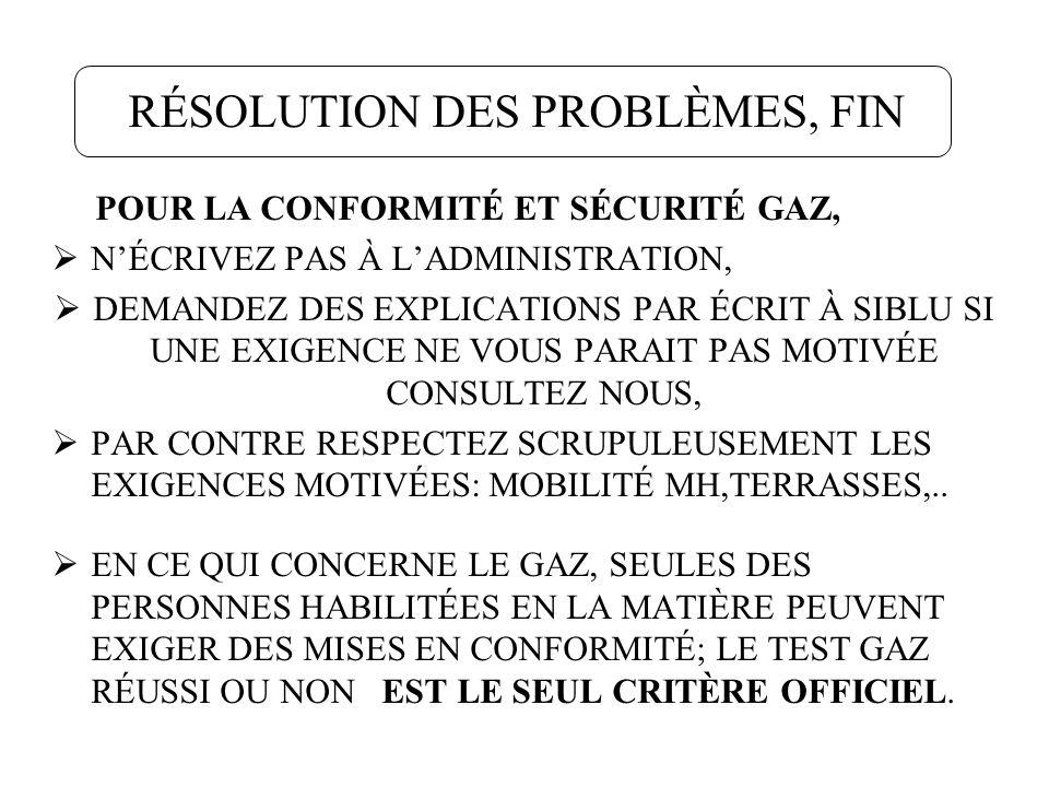 RÉSOLUTION DES PROBLÈMES, FIN