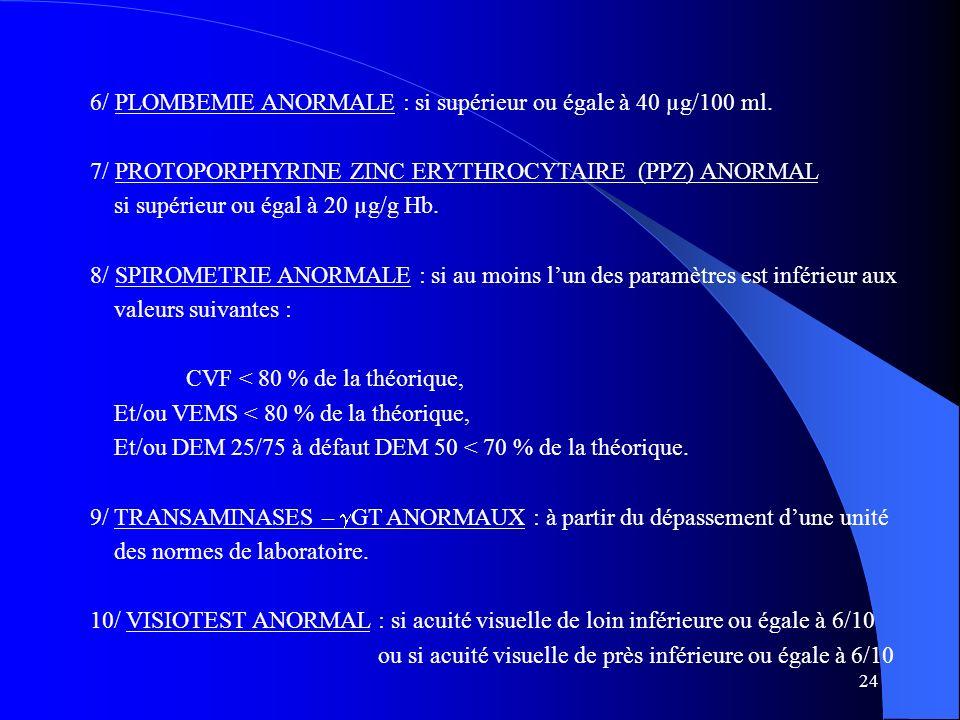 6/ PLOMBEMIE ANORMALE : si supérieur ou égale à 40 µg/100 ml.
