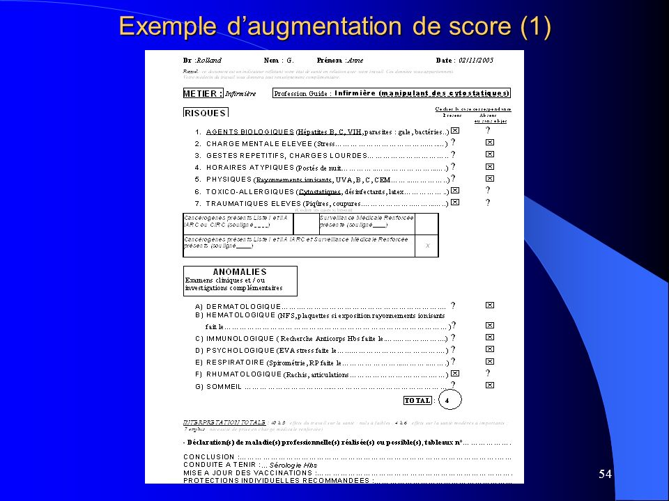 Exemple d'augmentation de score (1)