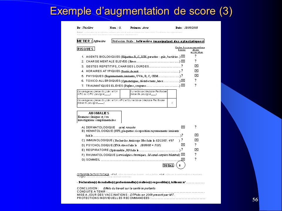 Exemple d'augmentation de score (3)