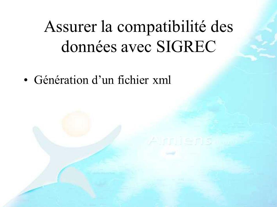 Assurer la compatibilité des données avec SIGREC