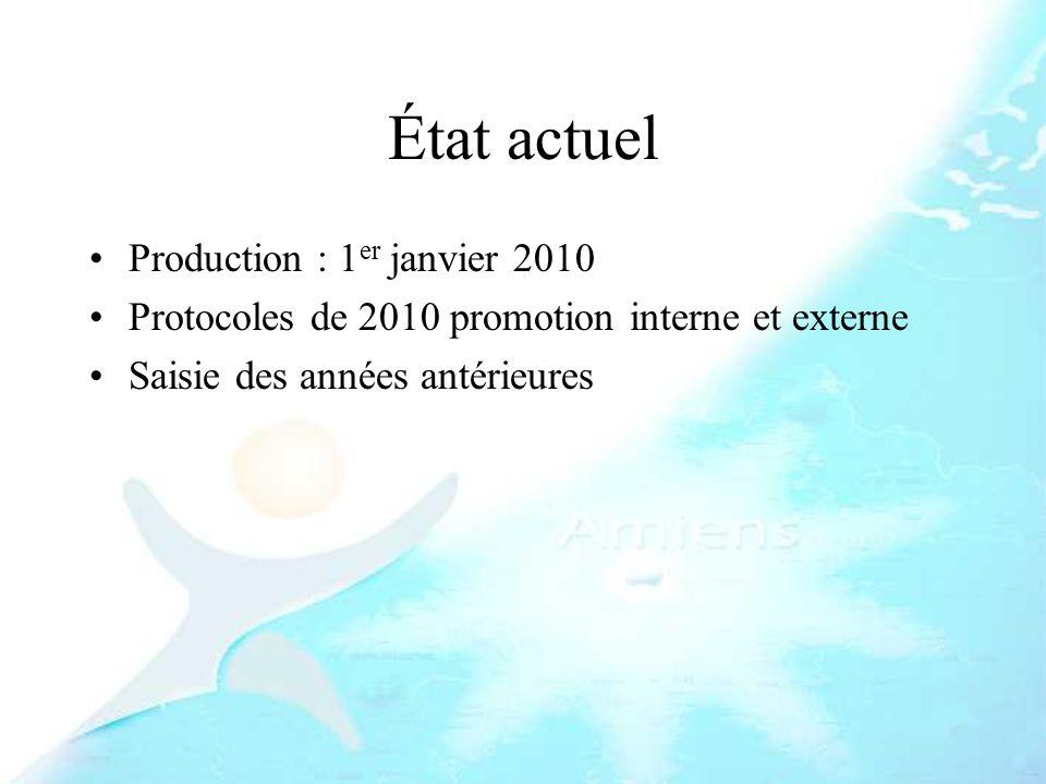 État actuel Production : 1er janvier 2010