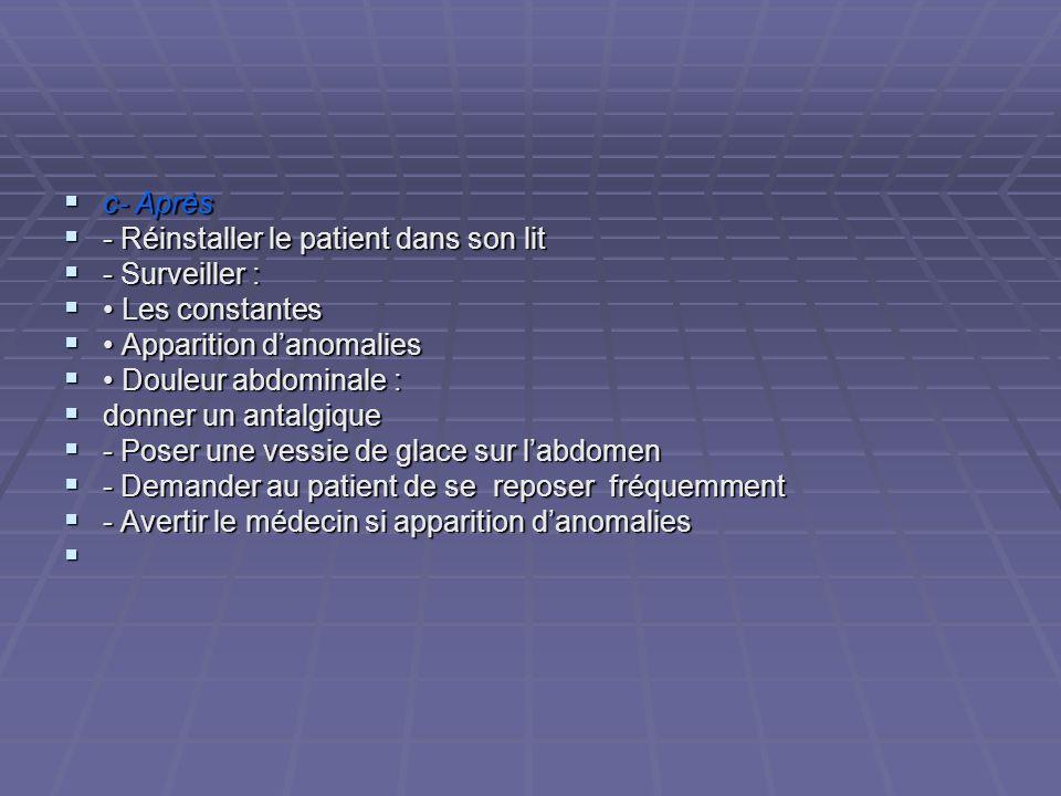 c- Après - Réinstaller le patient dans son lit. - Surveiller : • Les constantes. • Apparition d'anomalies.