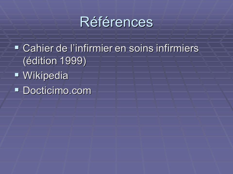 Références Cahier de l'infirmier en soins infirmiers (édition 1999)
