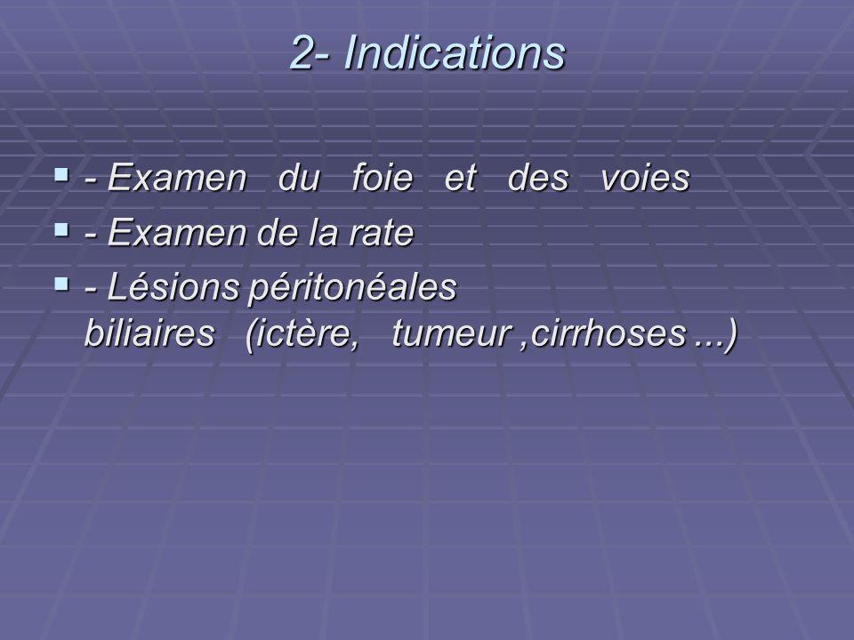 2- Indications - Examen du foie et des voies - Examen de la rate