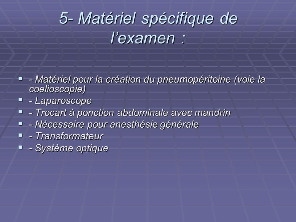 5- Matériel spécifique de l'examen :