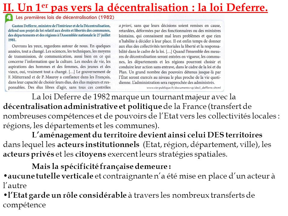 II. Un 1er pas vers la décentralisation : la loi Deferre.