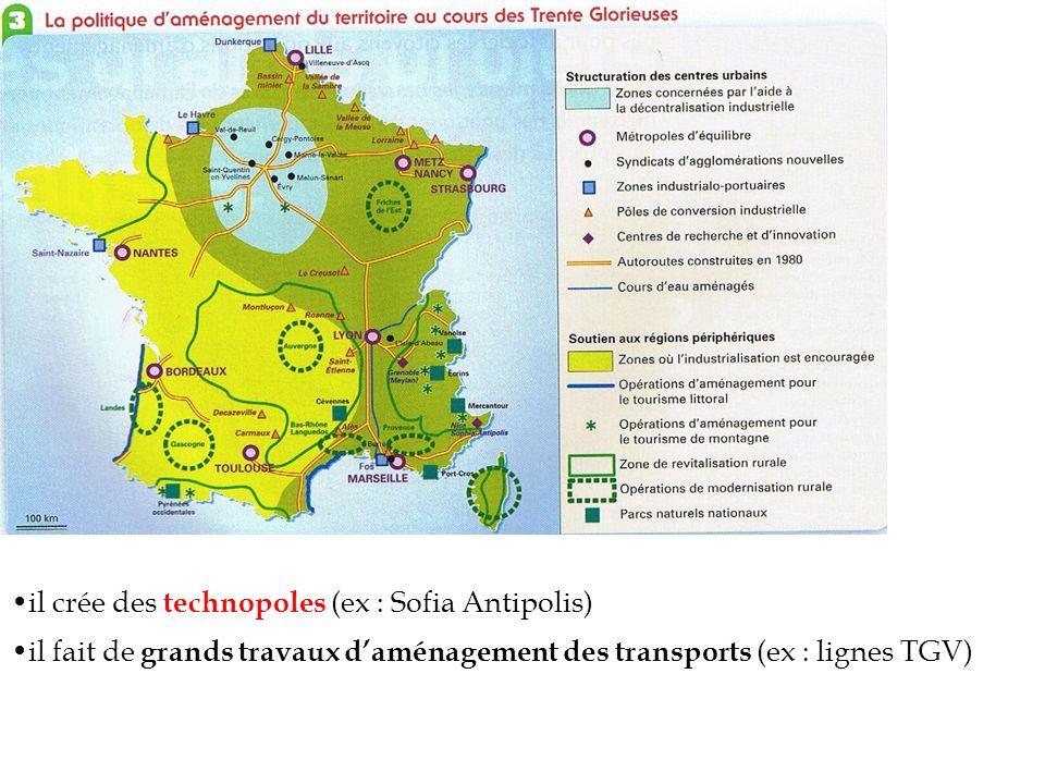 il crée des technopoles (ex : Sofia Antipolis)