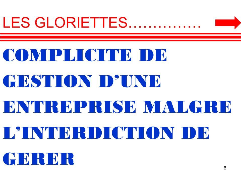 COMPLICITE DE GESTION D'UNE ENTREPRISE MALGRE L'INTERDICTION DE GERER