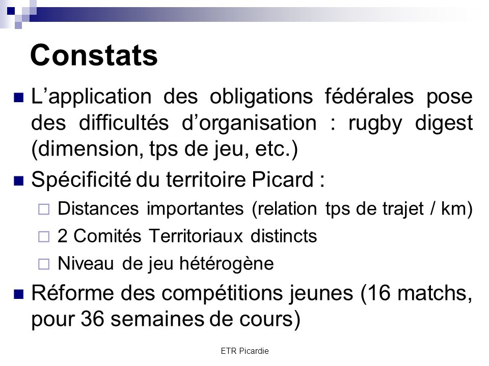 Constats L'application des obligations fédérales pose des difficultés d'organisation : rugby digest (dimension, tps de jeu, etc.)