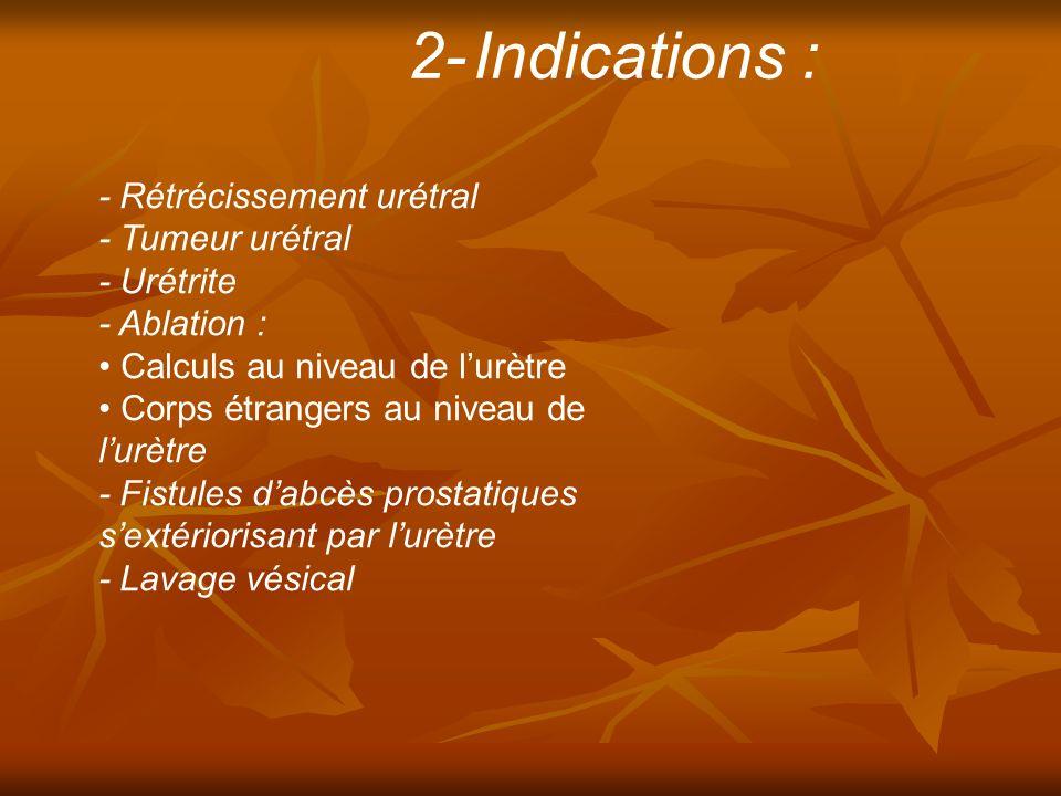 2- Indications : - Rétrécissement urétral - Tumeur urétral - Urétrite