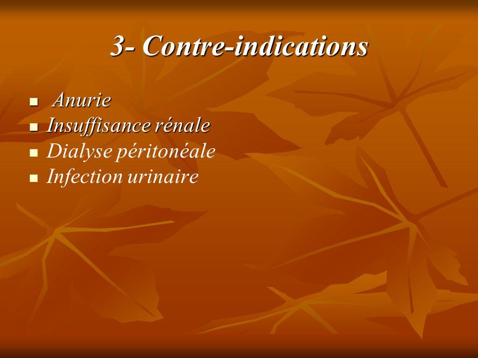 3- Contre-indications Anurie Insuffisance rénale Dialyse péritonéale