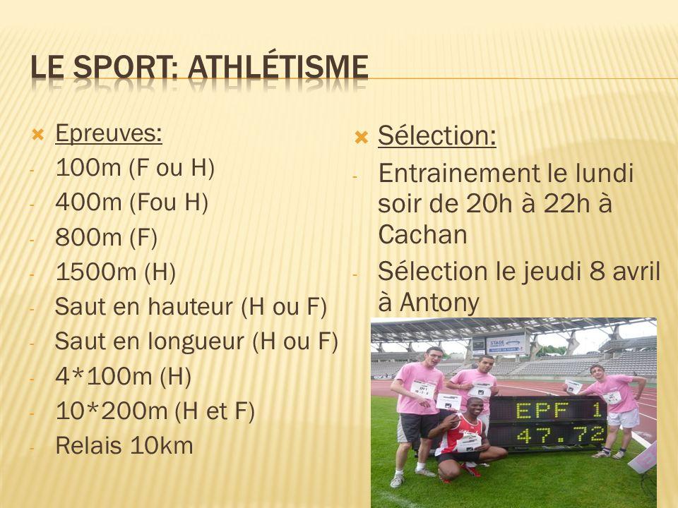 Le sport: Athlétisme Sélection: