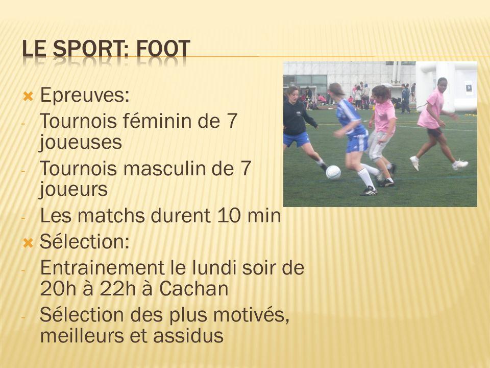 Le sport: foot Epreuves: Tournois féminin de 7 joueuses