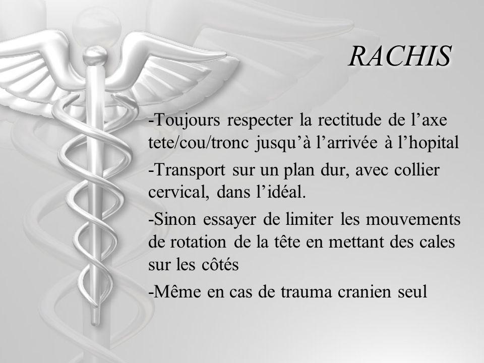 RACHIS -Toujours respecter la rectitude de l'axe tete/cou/tronc jusqu'à l'arrivée à l'hopital.