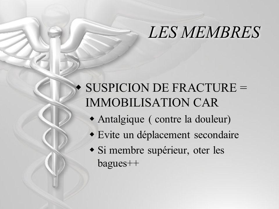 LES MEMBRES SUSPICION DE FRACTURE = IMMOBILISATION CAR