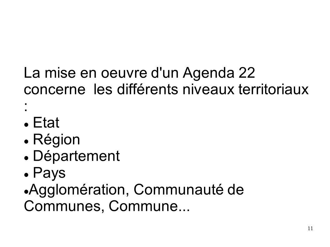 La mise en oeuvre d un Agenda 22 concerne les différents niveaux territoriaux :