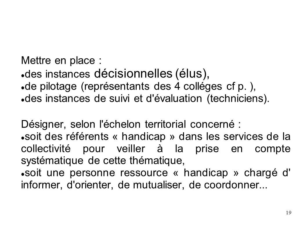 Mettre en place :des instances décisionnelles (élus), de pilotage (représentants des 4 colléges cf p. ),