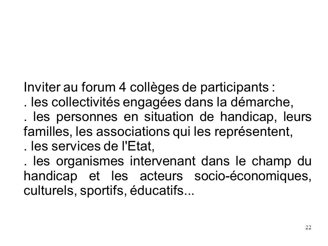 Inviter au forum 4 collèges de participants :