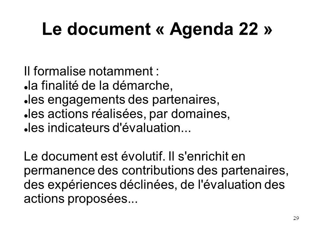 Le document « Agenda 22 » Il formalise notamment :