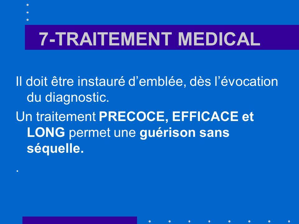 7-TRAITEMENT MEDICAL Il doit être instauré d'emblée, dès l'évocation du diagnostic.