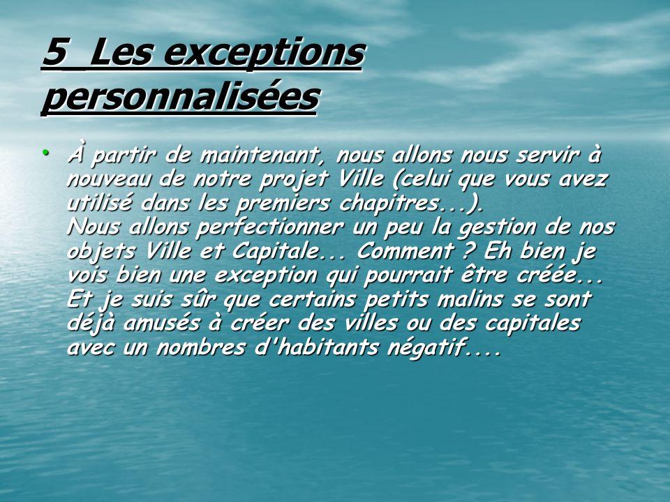 5_Les exceptions personnalisées