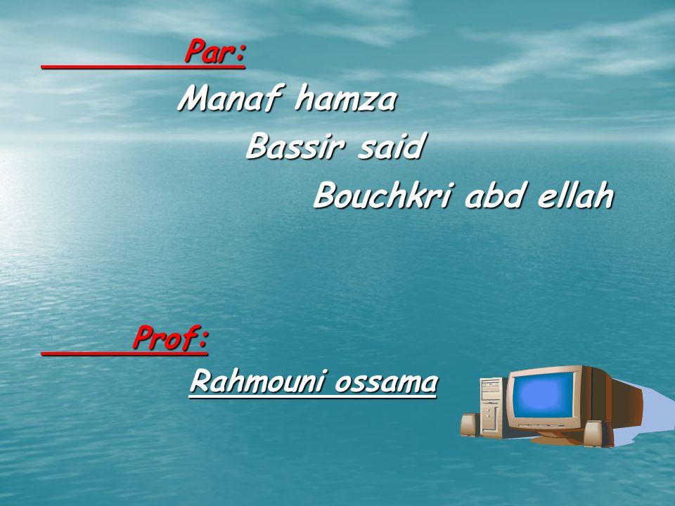 Par: Manaf hamza Bassir said Bouchkri abd ellah Prof: Rahmouni ossama