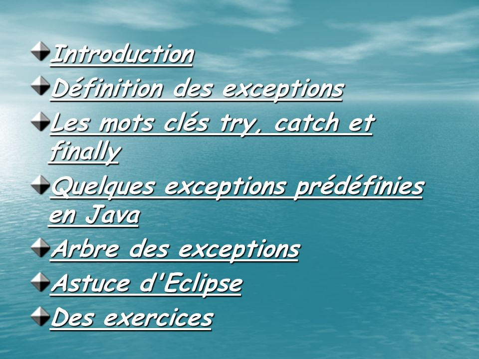 Introduction Définition des exceptions. Les mots clés try, catch et finally. Quelques exceptions prédéfinies en Java.