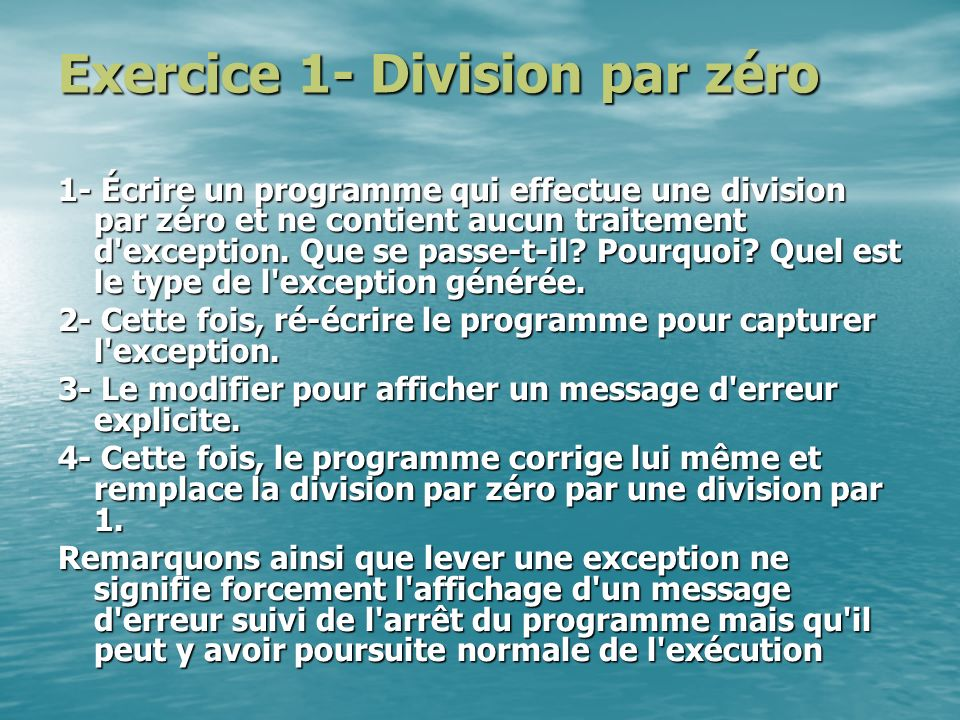 Exercice 1- Division par zéro