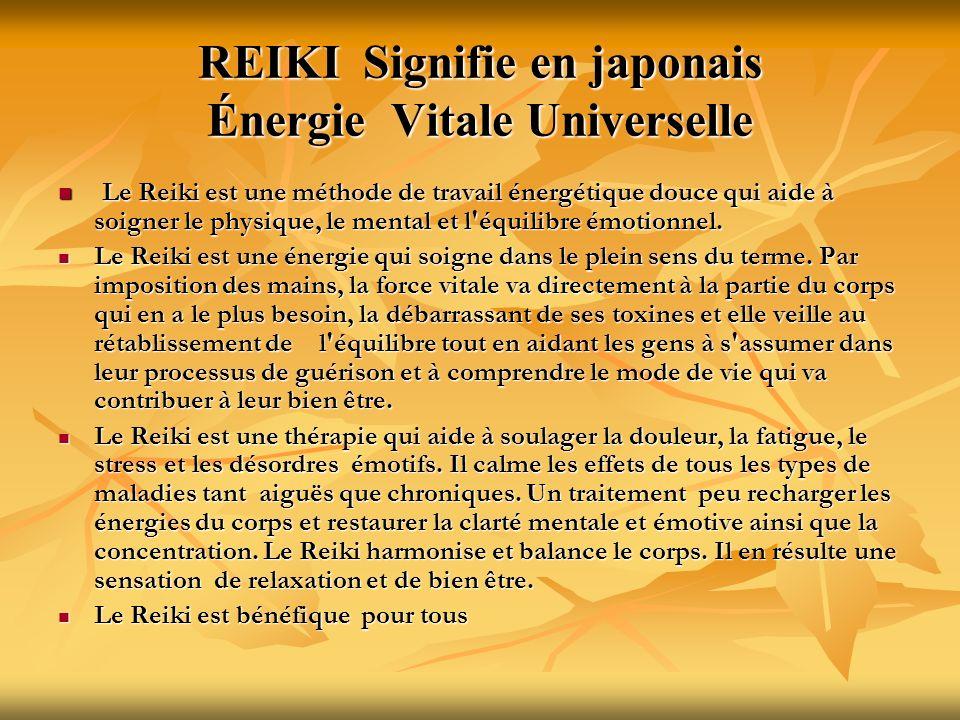REIKI Signifie en japonais Énergie Vitale Universelle