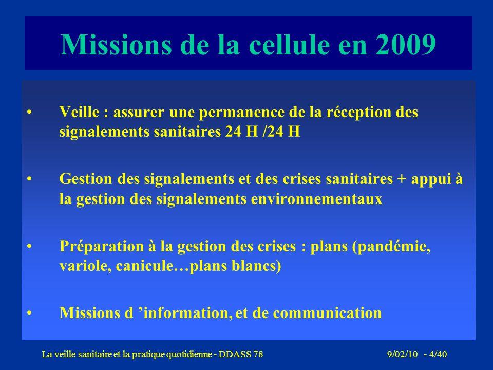 Missions de la cellule en 2009