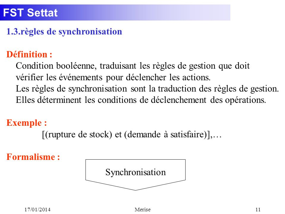 1.3.règles de synchronisation Définition :