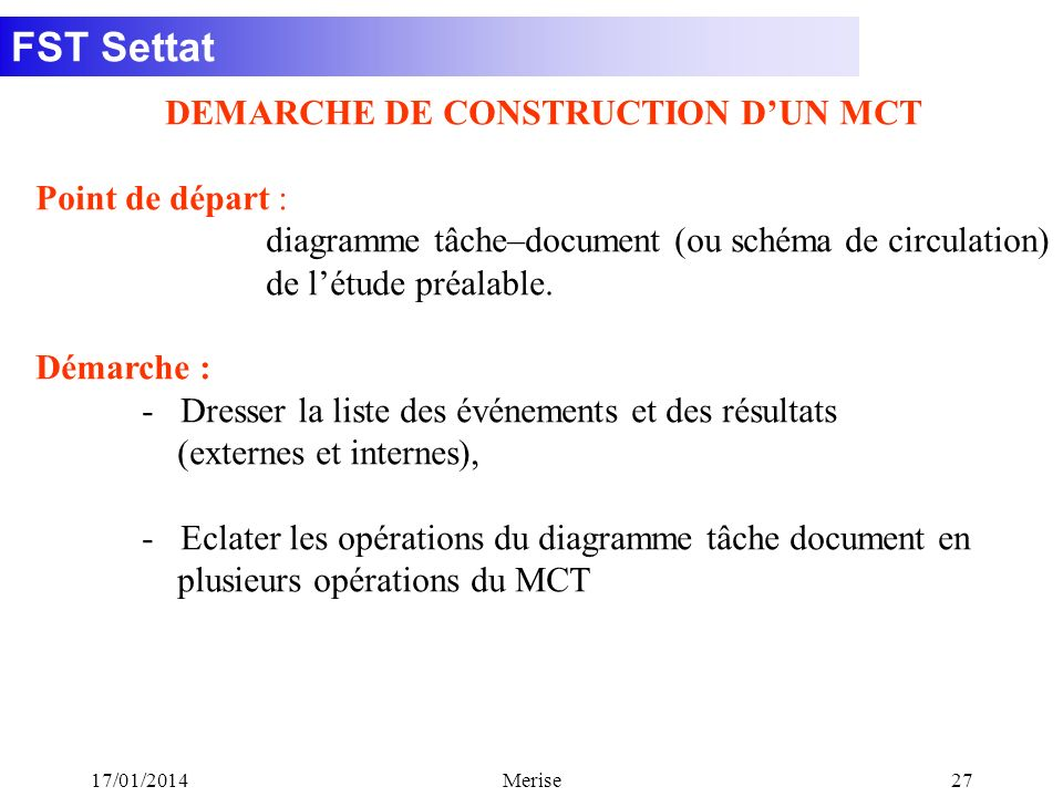 DEMARCHE DE CONSTRUCTION D'UN MCT
