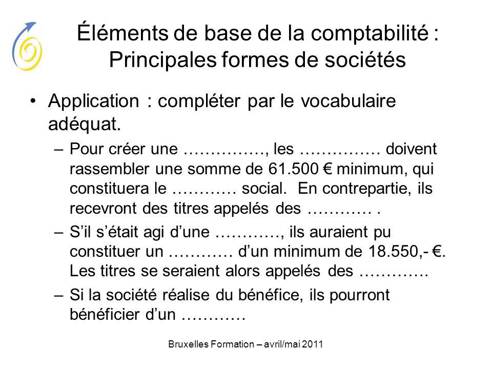 Éléments de base de la comptabilité : Principales formes de sociétés