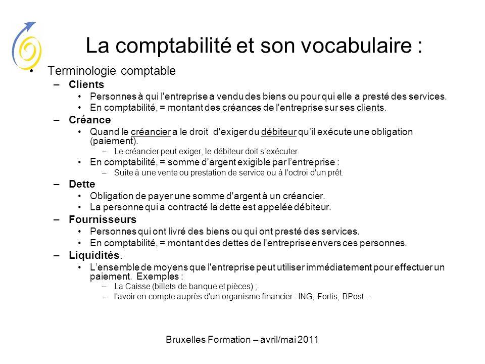 La comptabilité et son vocabulaire :