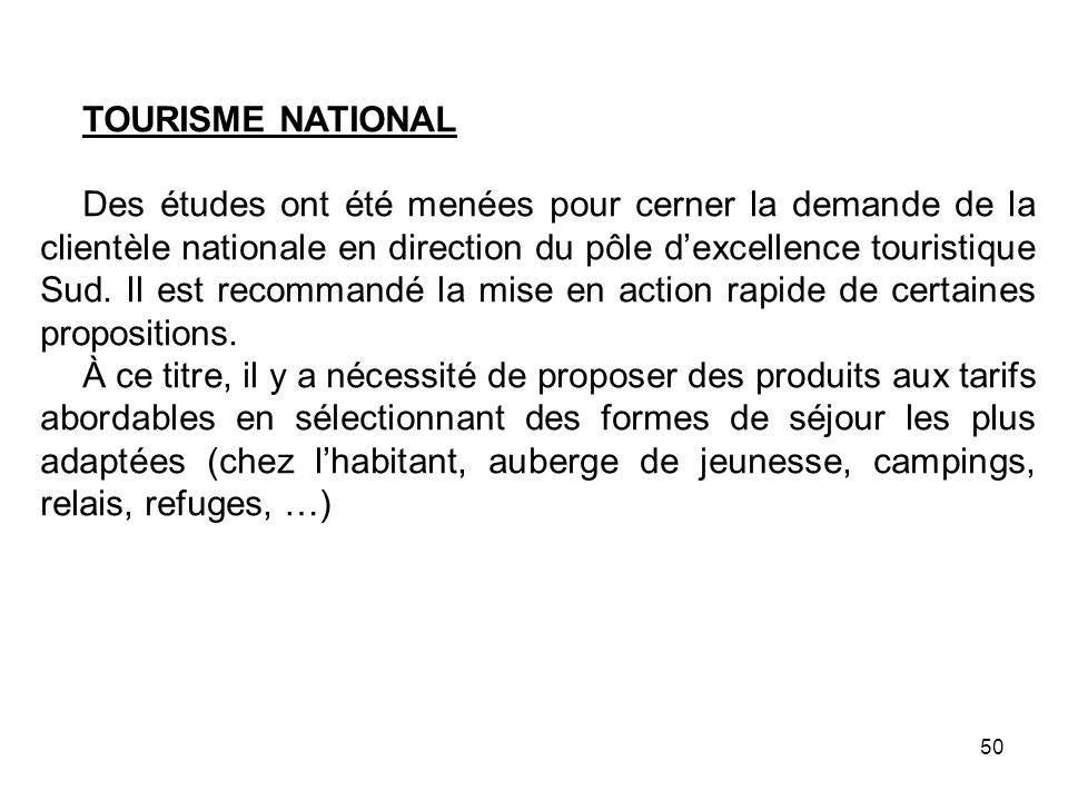 TOURISME NATIONAL
